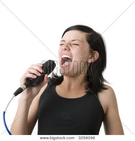 Girl Sings Into Mic