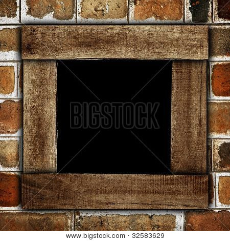 brick wall with wood frame