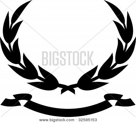 Laurel wreath and ribbon - Vector illustration