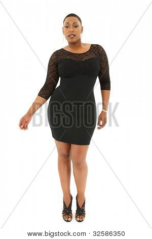 Beautiful Sexy Black Plus Size Model in Black Dress over White Background