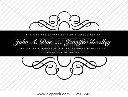 Vector Striped Ornate Frame and Background. Easy to edit. Perfect for invitations or announcements.