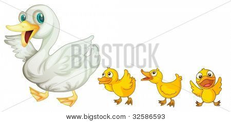 Illustration of a mother duck and her ducklings