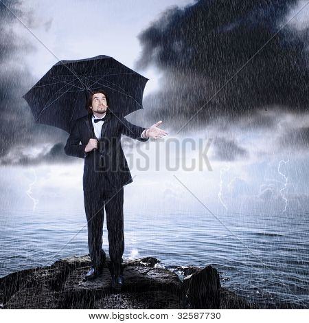 Man Under Umbrella Checking For Rain Coming Or Clearing
