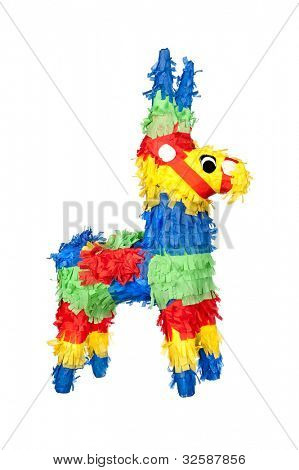 An unused, new party pinata for use at birthdays. Isolated on white for user convenience.