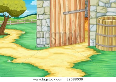 Open barn door scene illustration