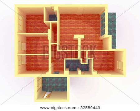 Perspective View Of Big Apartment With Walls From Top