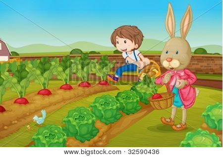 Boy and a rabbit picking raddishes
