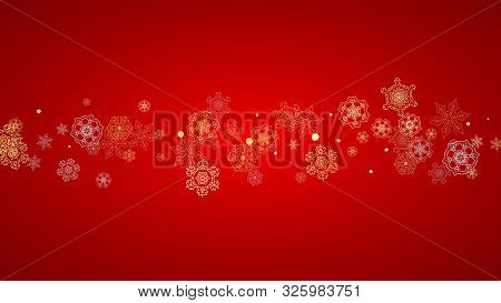 poster of Christmas Snow On Red Background. Glitter Frame For Winter Banners, Gift Coupon, Voucher, Ads, Party