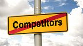 Street Sign The Direction Way To Cooperation Versus Competitors poster