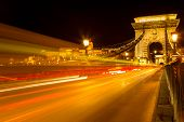 The Famous Széchenyi Chain Bridge In Budapest With The Buda Castle At A Background, Hungary. Long Ex poster