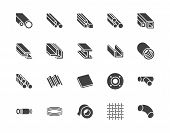 Stainless Steel Flat Glyph Icons Set. Metal Sheet, Coil, Strip, Pipe, Armature Vector Illustrations. poster