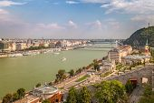 Budapest, Panoramic View From The Buda Castle Over Danube River With The Elisabeth Bridge, Hungary,  poster
