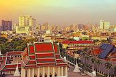 Beautiful Sunset View From The Golden Mount, Wat Saket Temple, Bangkok With Bangkok City View In The poster