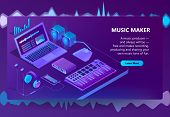 3d Isometric Template For Site Construction. Violet Laptop, Piano Keyboard For Music Making, Creatio poster