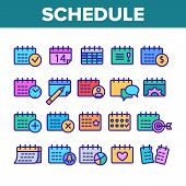 Schedule Collection Elements Icons Set Vector Thin Line. Calendar With Clock And Human, Heart And Be poster