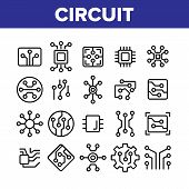Circuit Computer Chip Collection Icons Set Vector Thin Line. Different Electronic Circuit And Electr poster