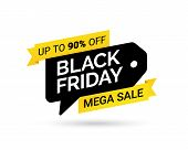 Sale Tag. Mega Sale. Black Friday. Design Element For Sale Banners, Posters, Cards. Special Offer On poster