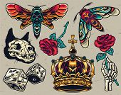 Vintage Colorful Tattoos Composition With Cat Skull Dice Ornate Royal Crown Skeleton Hand Holding Ro poster
