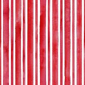 Watercolor Red Stripes On White Background. White And Red Vintage Striped Seamless Pattern. Watercol poster