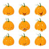 Collection Of Pumpkin Head With Different Emotion Of Face For. Halloween Celebration. Different Emot poster