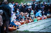 MUKACHEVO - APRIL 15:Easter, unidentified parishioners of the Orthodox Church. Easter Celebration in
