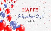 Samoa Independence Day Greeting Card. Flying Balloons In Samoa National Colors. Happy Independence D poster