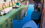 Closed Up Water Of Canal In Early Morning Light. Old Narrow Canal With Parked Boats, Venice, Italy. poster
