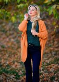 Girl Adorable Blonde Posing In Warm And Cozy Outfit Autumn Nature Background Defocused. Cozy Outfit  poster