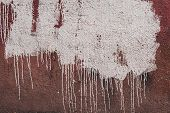 Abstract Grunge Background. A Stain Of White Paint With Multiple Smudges On The Plastered Old Wall.  poster