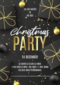 Merry Christmas Party Poster. Holiday Flyer With Realistic Black Gift Boxes, Christmas Black And Gol poster