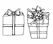 Hand Drawn Icons Gifts With Bows In Cartoon Style. Doodle Gift Box Icon Set With Different Bows. Gif poster
