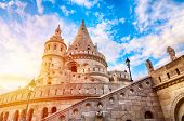 Fishermens Bastion In Budapest During Sunset With Blue Sky And Clouds. Budapest, Hungary poster