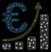 Glossy Mesh Euro Sales Growth With Glitter Effect. Abstract Illuminated Model Of Euro Sales Growth I poster