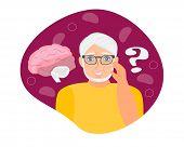 Alzheimer Old Man, Neurology Health Care, Parkinson Or Dementia Metaphor Are Shown. poster