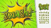 3d Cartoon Comic Font. Kid Alphabet In Style Of Pop Art. Multilayer Funny Yellow-green Letters On Co poster