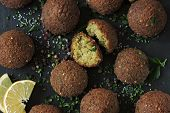 Fresh Falafel Balls, Spices, Sauce And Herbs. Vegan Falafel. Healthy Lean Food. Middle Eastern Cuisi poster