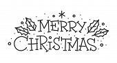 Merry Christmas Hand Drawn Lettering Banner. Typography Emblem. Text Calligraphy Inscription Card De poster