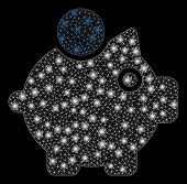 Glowing Mesh Piggy Bank With Glow Effect. Abstract Illuminated Model Of Piggy Bank Icon. Shiny Wire  poster