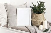 White Blank Wooden Frame Mockup With Christmas Tree, Candles, Linen Cushions And Plaid On The White  poster