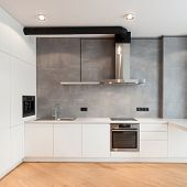 Apartment With Contemporary Interior. Kitchen In Loft Style, Built In Household Appliance, Electric  poster