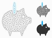 Mesh Piggy Bank Model With Triangle Mosaic Icon. Wire Frame Polygonal Network Of Piggy Bank. Vector  poster