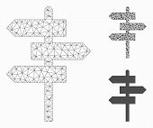 Mesh Way Pointer Model With Triangle Mosaic Icon. Wire Frame Polygonal Network Of Way Pointer. Vecto poster