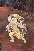 stock photo of hanuman  - Masterpiece Of Traditional Thai Style Painting Art On Temple Wall At Watphrakaew - JPG
