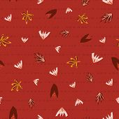Scattered Autumn Leaves Seamless Vector Background. Abstract Fall Pattern Red Orange Pink. Repeating poster