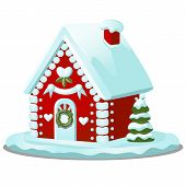 Festive Cake In Shape Of Village House Decorated In Christmas Style Isolated On White Background. Sw poster