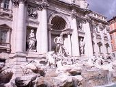 Trevi Fountain Great Baroque Monumental Fountain Dituated In Trevis Rione Built In The 17Th Century poster