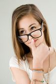 image of eminent  - Funny portrait of eminent cute young brunette student girl - JPG