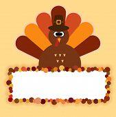 Happy Thanksgiving Text Cartoon Turkey On Orange Background Thanksgiving Poster poster