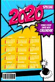 2020 Colored Calendar Pop Art Vector Style. 2020 New Year Speech Bubble Background. Colored Number C poster