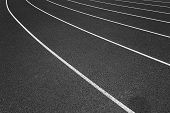 White Lines Of Stadium And Texture Of Running Racetrack Black Rubber Racetracks In Outdoor Stadium A poster